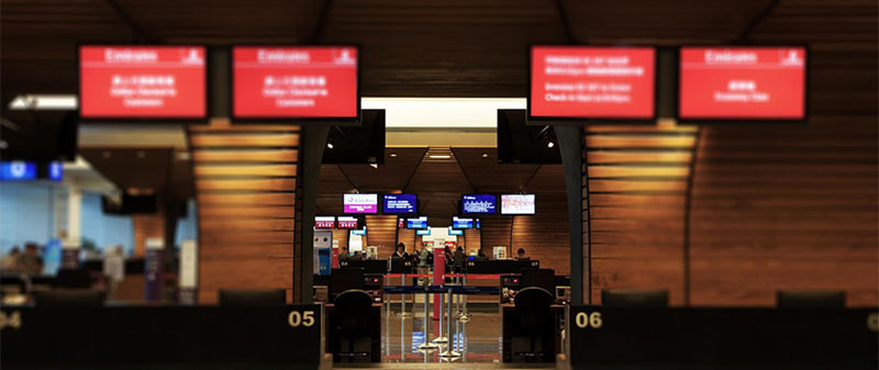 airport digital signage: Airline Check-in Counter